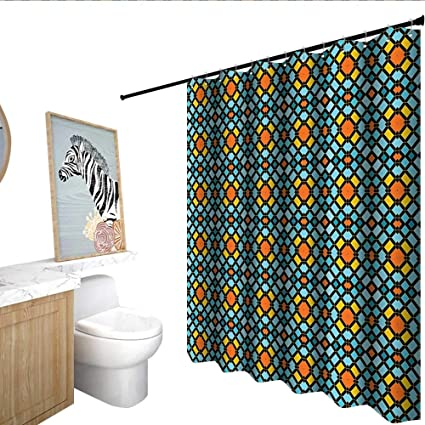Geometric Polyester Shower Curtain Abstract Aztec Zigzag Various Form Artistic Symmetric Digital Print Single Stall