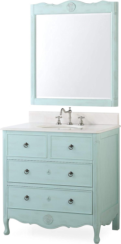 34 Cottage look Daleville Bathroom Sink vanity w matching Mirror HF-081LB-MIR Light Blue