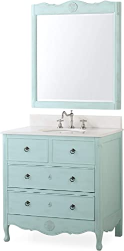 34 Cottage Look Daleville Bathroom Sink Vanity w Matching Mirror HF-081LB-MIR Light Blue