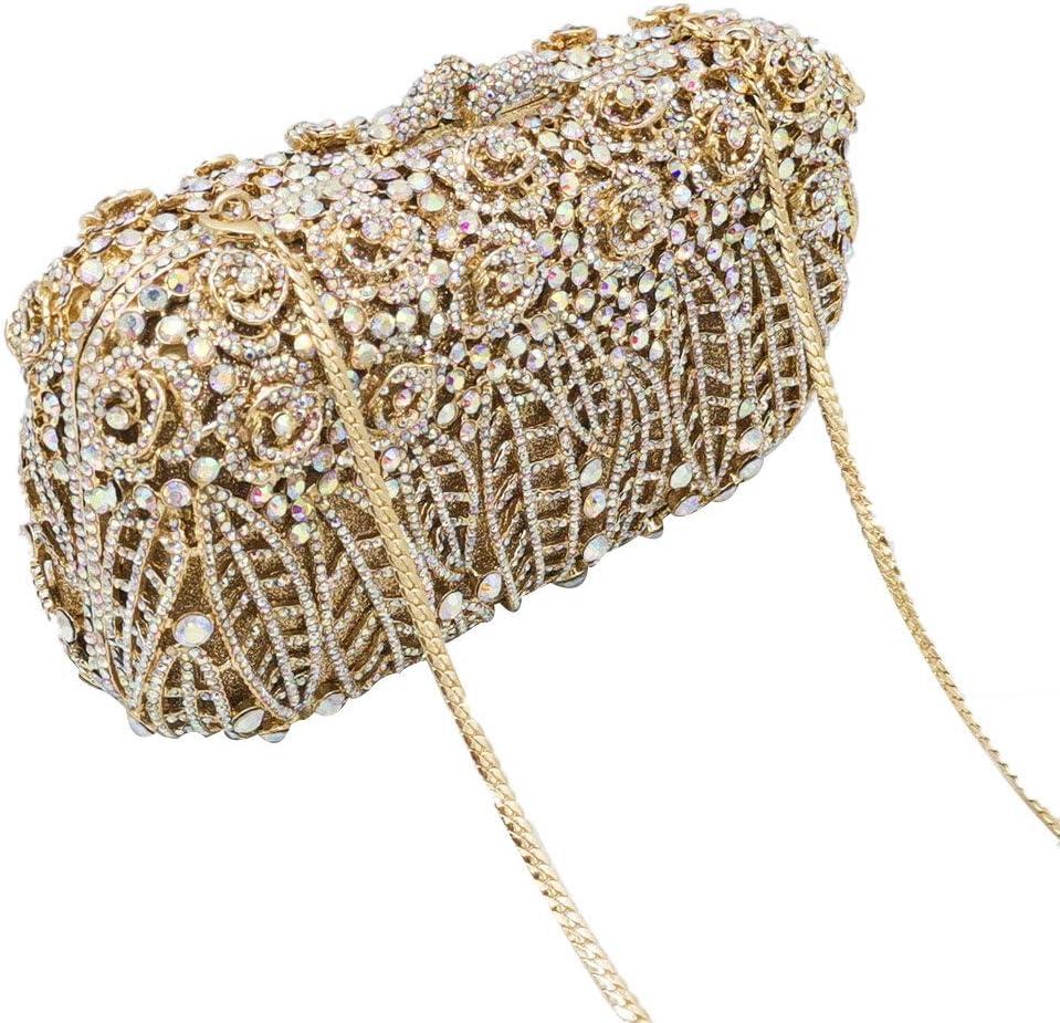 XLJJB Dazzling Flower Clutch Minaudiere Bags Women Crystal Evening Bag Wedding Party Purses And Handbags Dinner Bag Red Crystal Bag