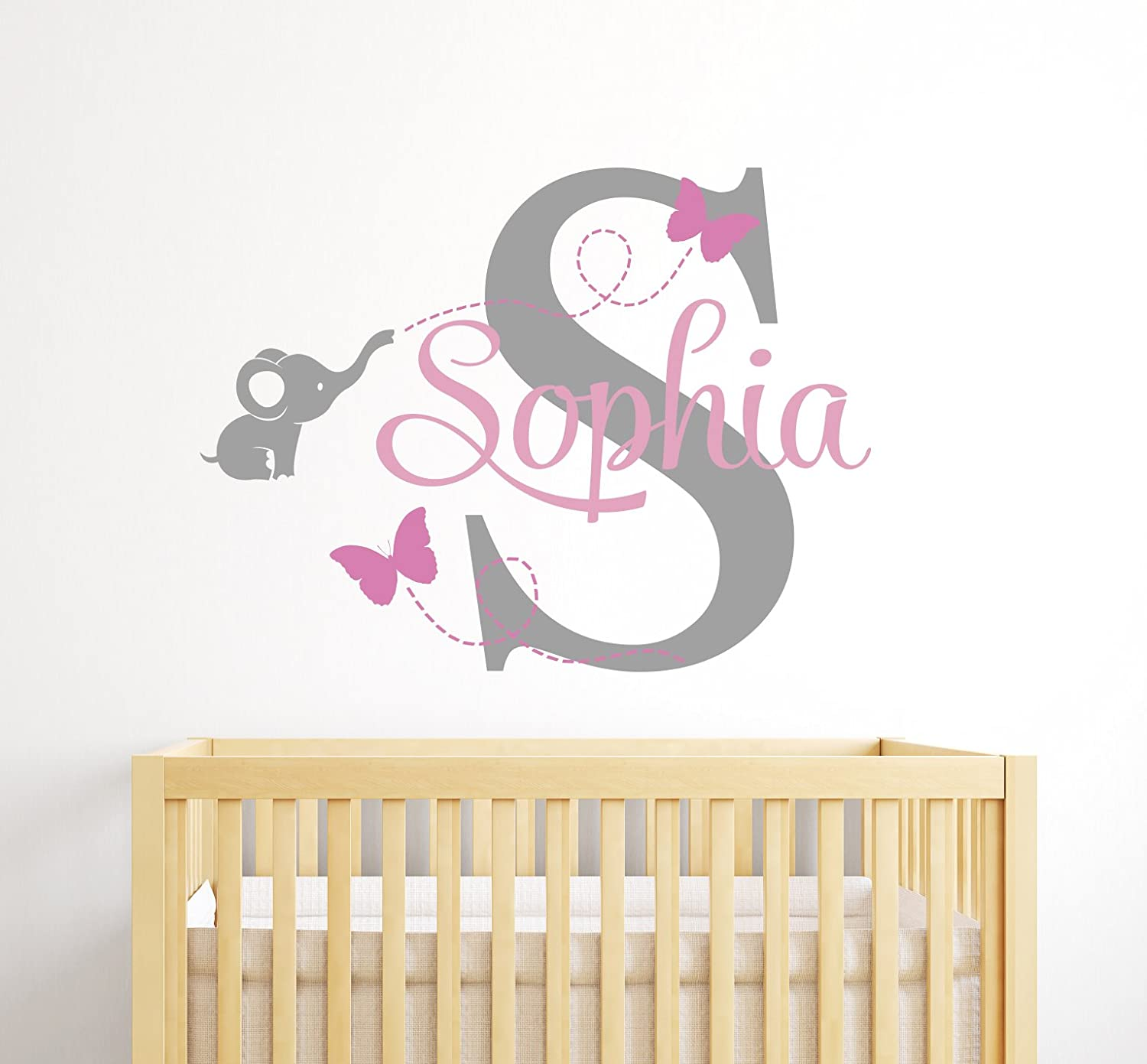 Baby Room Decor Custom Elephant Name Wall Decal for Girls Nursery Wall Decals Elephant Wall Decor