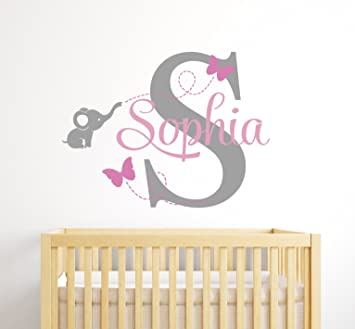 Custom Elephant Name Wall Decal For Girls   Baby Room Decor   Nursery Wall  Decals