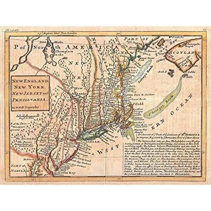 Wee Blue Coo 1729 Moll Map York England First Postal Map Art Print Poster  Wall Decor 12X16 Inch