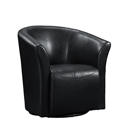Swivel Chair With Barrel Back   Modern Leather Upholstered Accent Arm Chair  With Comfortable Seat