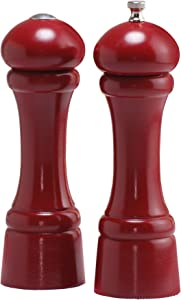 Chef Specialties 8 Inch Windsor Pepper Mill and Salt Shaker Set - Candy Apple Red