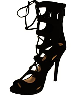 ffc9e2877da Breckelle s Women s Roma-61 Gladiator Style Lace up   Back Zip Peep Toe  High Heel