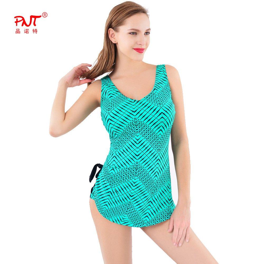 Sport Tent-Europäische und amerikanische Mode sexy plus size einteiligen Badeanzug Neckholder Catsuit l Grün , 5xl
