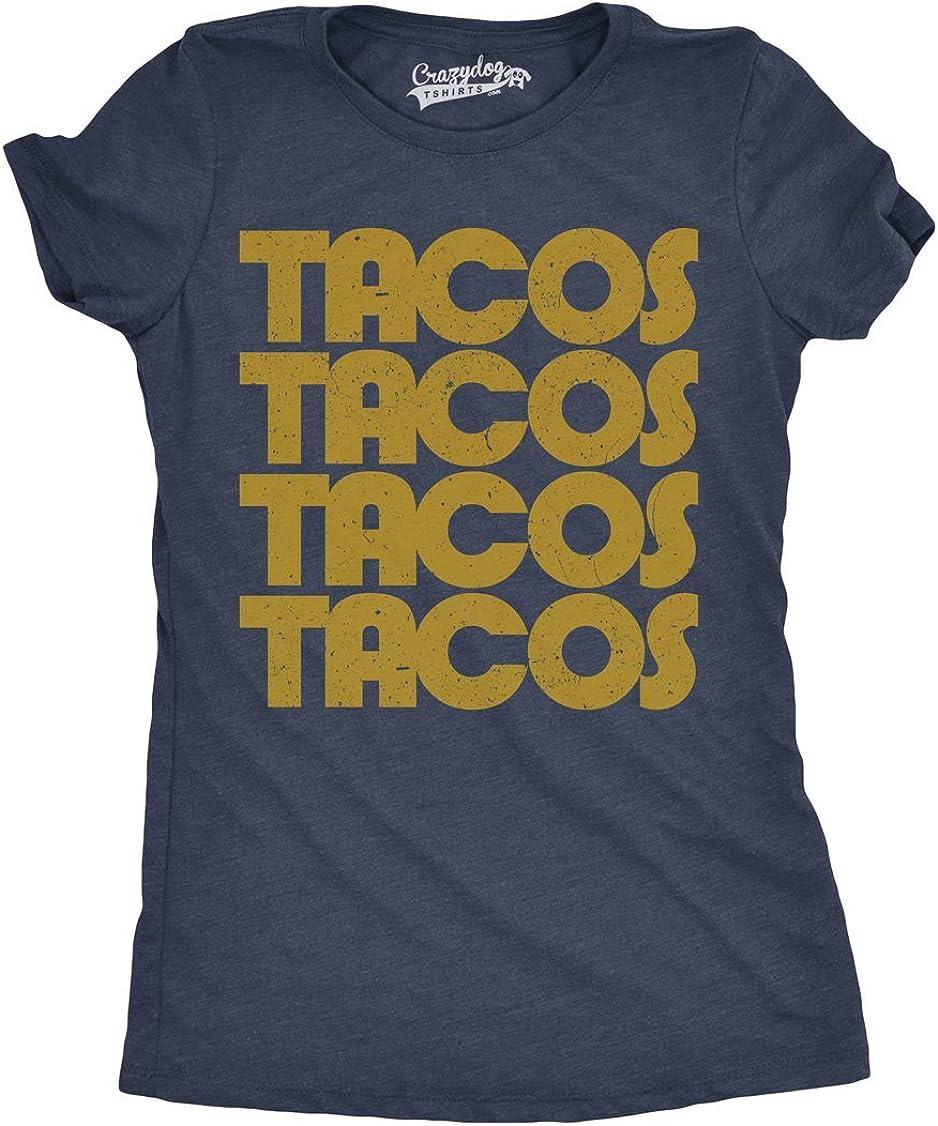 Womens Tacos Tacos Tacos Tshirt Funny Retro Cinco De Mayo Tee for Ladies
