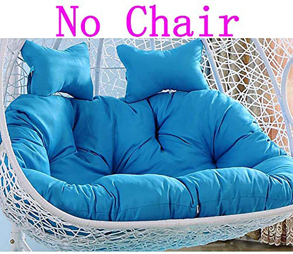 YEARLY Egg Nest Shaped Cushions, Basket Cushion Wicker Rattan Swing Pads Hanging Hammock 2 Persons Seater Zipper Washable no Chairs-Sky Blue 140x110cm(55x43inch)