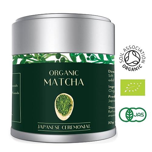 Heapwell Superfoods Matcha Green Tea Powder Finest Organic Ceremonial Grade 30g per Premium AAA Japanese Vibrant DEEP Green Colour | Vegan, Antioxidants, Energy and Metabolism Boost (Lot 583)