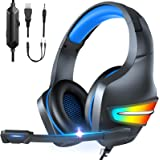 Auriculares para Juegos, LONEASY Auriculares para Juegos con Aislamiento de Ruido con Cable, Auriculares para Jugadores con M