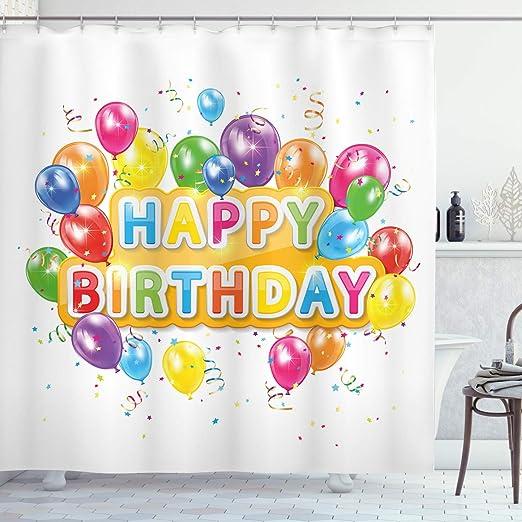 Amazon.com: Cortina de ducha de decoración para cumpleaños ...