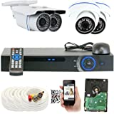 GW Security 1080P HD Over Analog (HDCVI) 4 Channel Video Security System - Four 2.1 MP Weatherproof IP66 Bullet Cameras, 80ft IR LED Night Vision, Pre-Installed 1TB HD, Quick QR Code Access