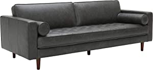 "Amazon Brand – Rivet Aiden Mid-Century Modern Leather Sofa Couch, 86.6""W, Black"