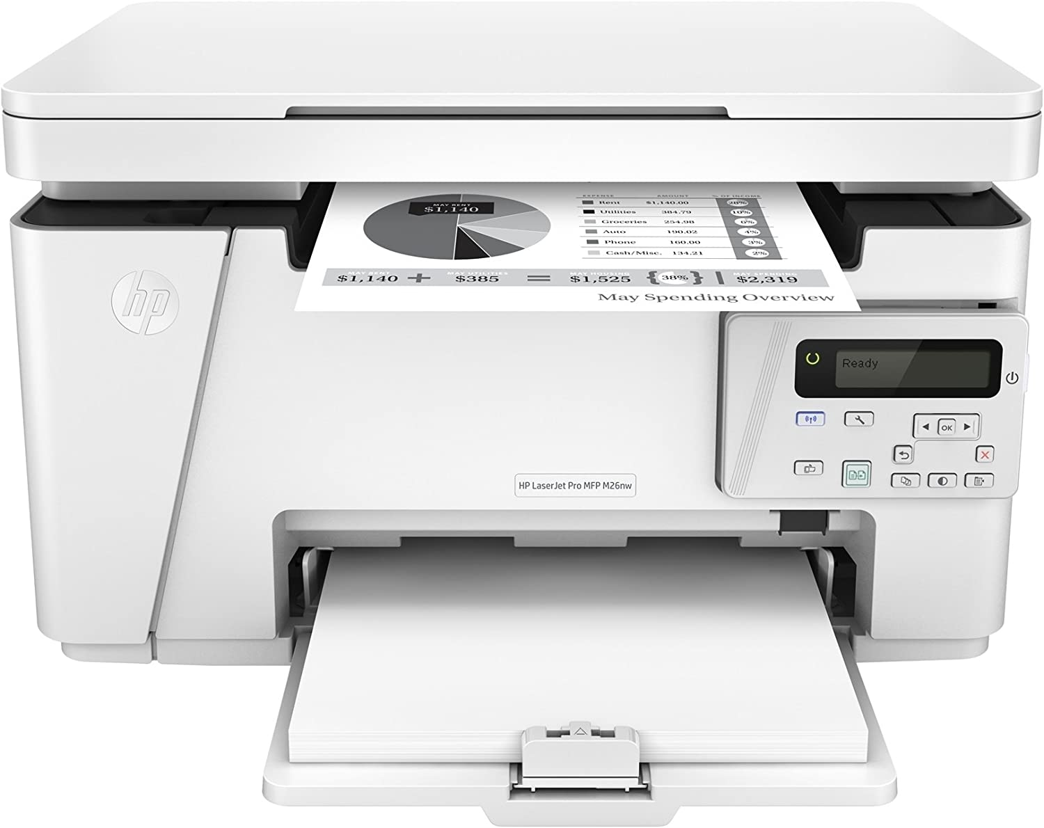 HP LaserJet Pro M26nw Printer, White