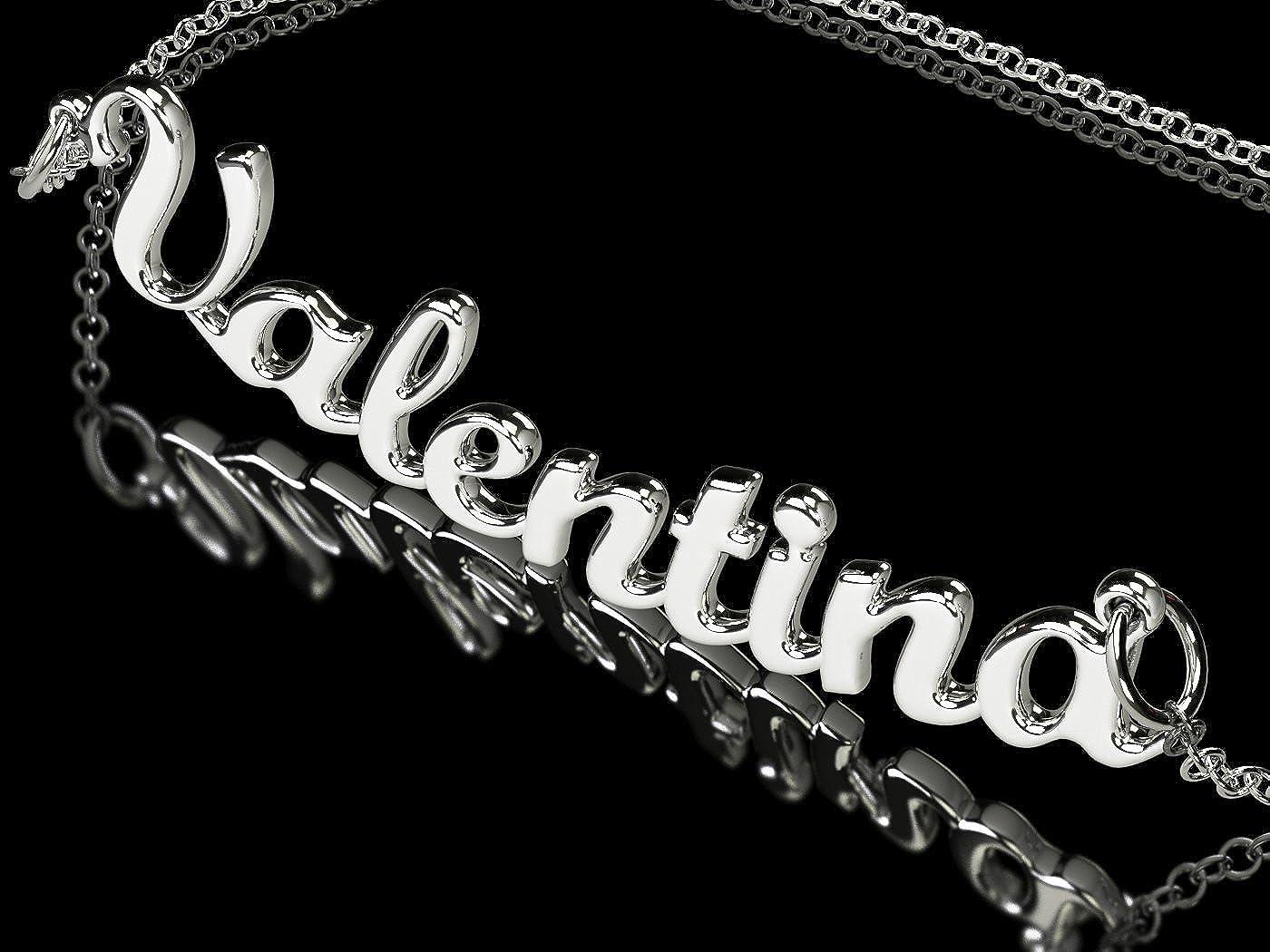 Collar con nombre Valentina de plata 925 rodeado antialérgico. Hecho en Italia. Modelo G10: Amazon.es: Joyería