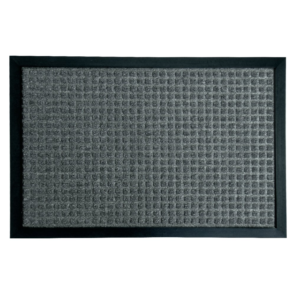 Rubber-Cal 03-198-ZWCH''Nottingham'' Rubber Backed Carpet Entrance Mats, 16'' x 24'', Charcoal