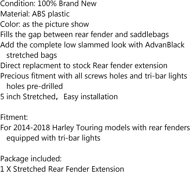 Topteng Extension de garde-boue arri/ère extensible pour 14-17 Touring Street Road Glide