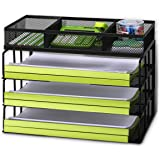 Rackarster Mesh Desk Organizer - 3 Tier Stackable Letter Size Desk Paper Tray Organizer with Sorter, Perfect for Home and Off