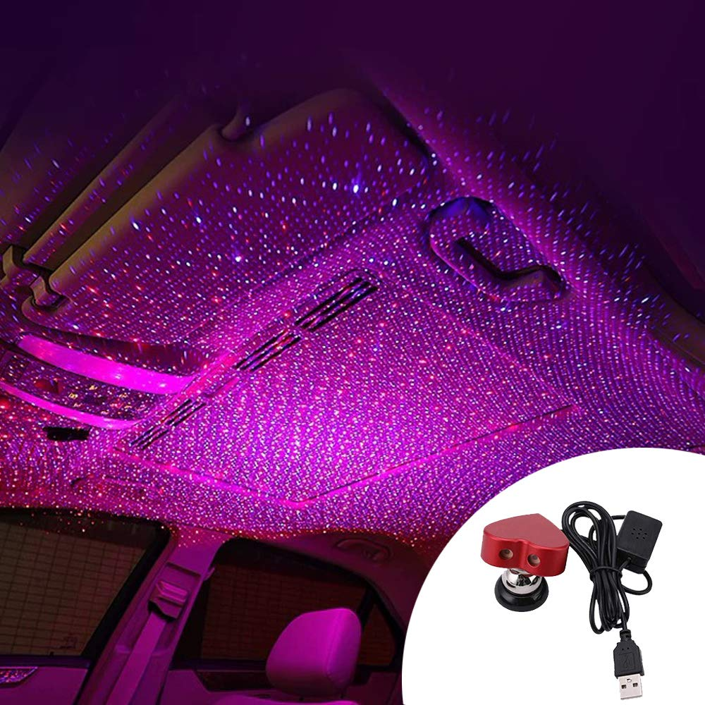 Love Shape Car USB Atmosphere Environment Starlight Red Blue Two-Color Car Interior Lights Led Decorative Armrest Box Car Roof Full Star Projection Laser Car Interior Atmosphere Decoration Light