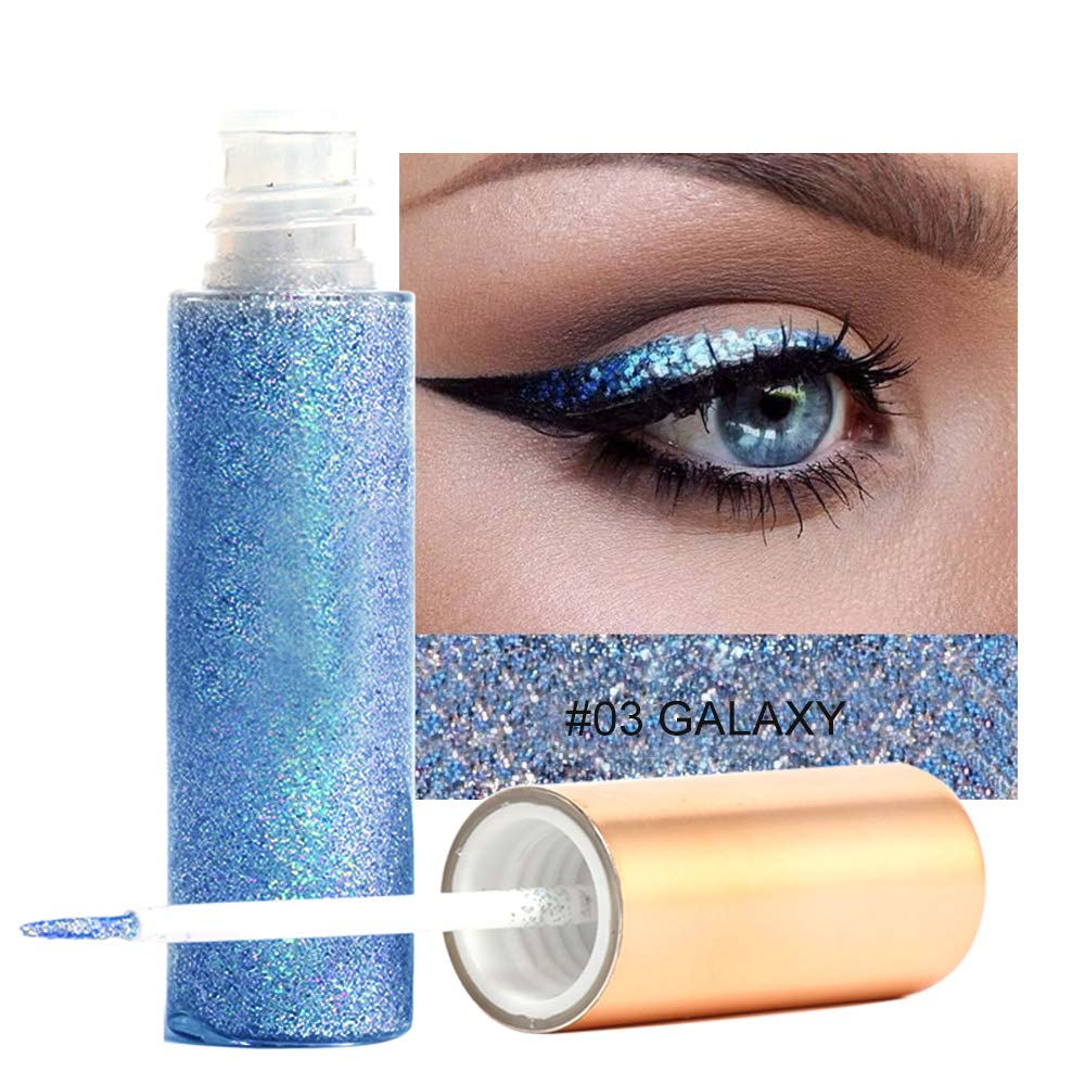 Glitter Liquid Eyeliner, Long-lasting Waterproof Sparkling Pen for Eyeshadows Cosmetic Professional Glitter Shiny Metallic Makeup (#5) Brrnoo