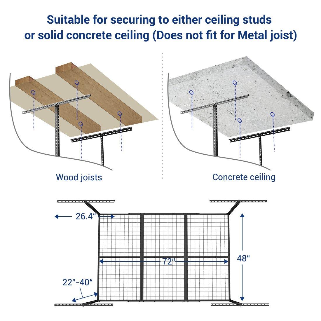 FLEXIMOUNTS 4x6 Heavy Duty Overhead Garage Adjustable Ceiling Storage Rack, 72'' Length x 48'' Width x 40'' Height, Black by FLEXIMOUNTS (Image #6)