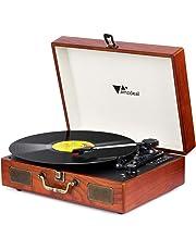 Amzdeal Tocadiscos, 33/45/78 RPM, Maleta Portátil con 2 Altavoces Integrados, Tocadiscos de Vinilo de Estilo Vintage, Función Grabación/MP3, Soporte Bluetooth/USB/Tarjeta SD, Grano de Madera
