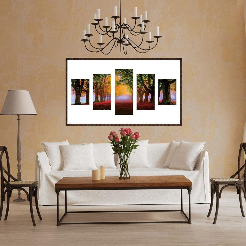 MKChung 5D DIY Diamond Painting 5 Panels Cross Stitch Embroidery Drawing Kits Wall Decora Craft for Bedroom,Full Drill,Woods