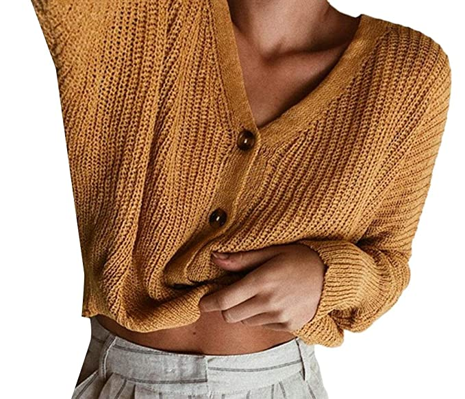 a9a47388da8d M S W Women s V-Neck Button Down Long Sleeve Basic Soft Knit ...