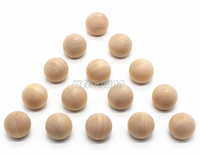 "WEICHUAN 1-1/2"" Unfinished Wood Ball Drawer Knobs Pulls Handles - Kitchen Cabinets Furniture Dresser Wardrobe Cupboard Drawer Knobs Pulls Handles (Pack of 15)"