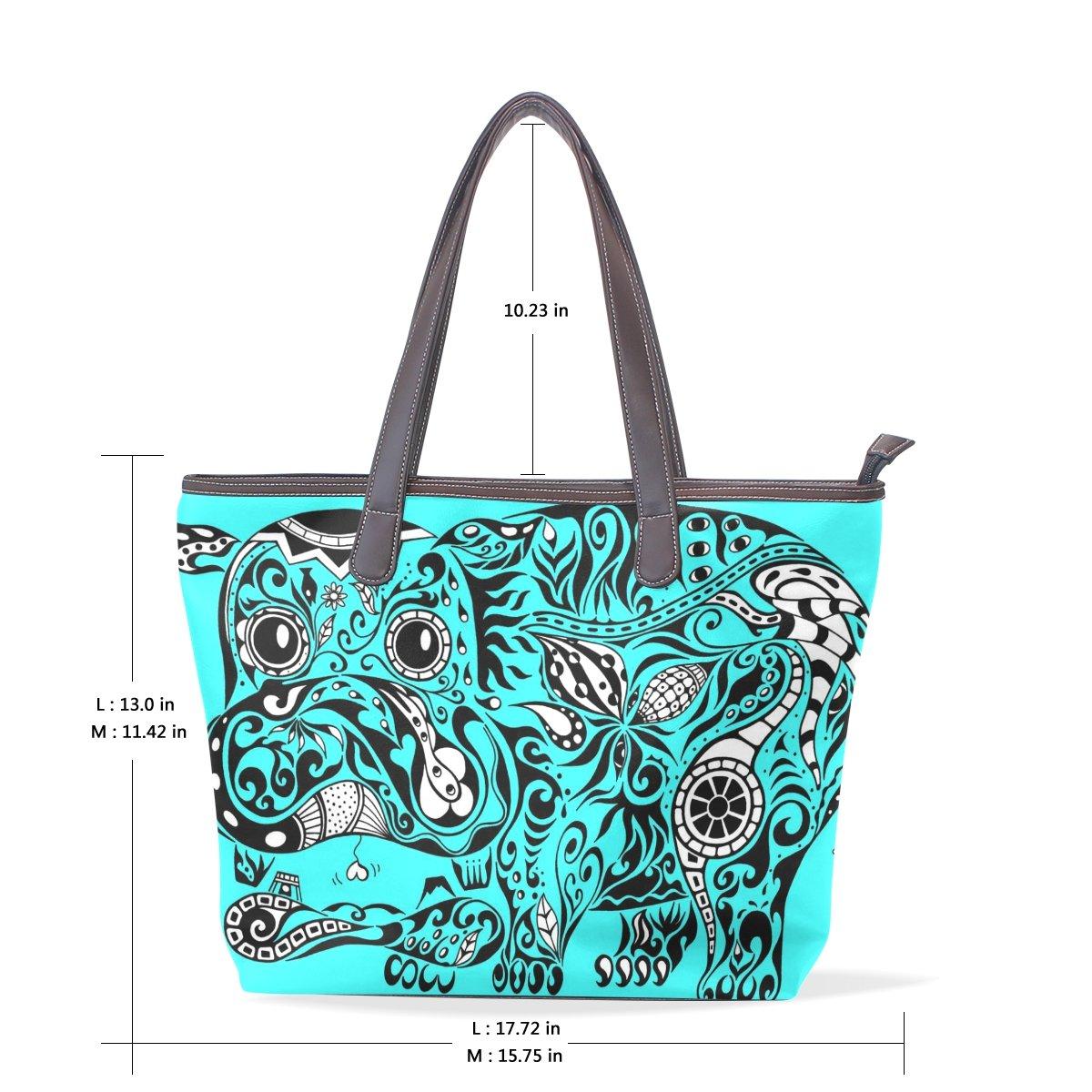 Ye Store Hippopotamus Lady PU Leather Handbag Tote Bag Shoulder Bag Shopping Bag