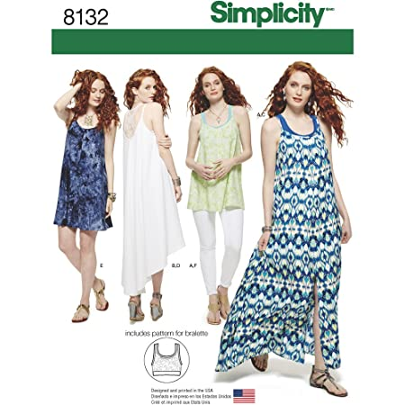 Simplicity Pattern 8132 Misses Tank Dresstunic And Knit Bralette