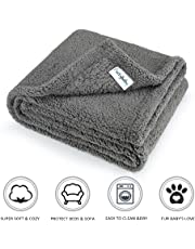 furrybaby Premium Fluffy Fleece Dog Blanket, Soft and Warm Pet Throw for Dogs & Cats Grey (Medium (80x100cm))