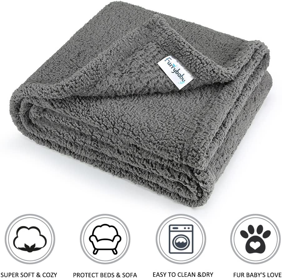 furrybaby Premium Fluffy Fleece Dog Blanket, Soft and Warm Pet Throw for Dogs & Cats (Medium (3240