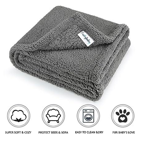 furrybaby Manta de Felpa con Forro Polar, Suave y Cálida para Perros & Gatos Gris