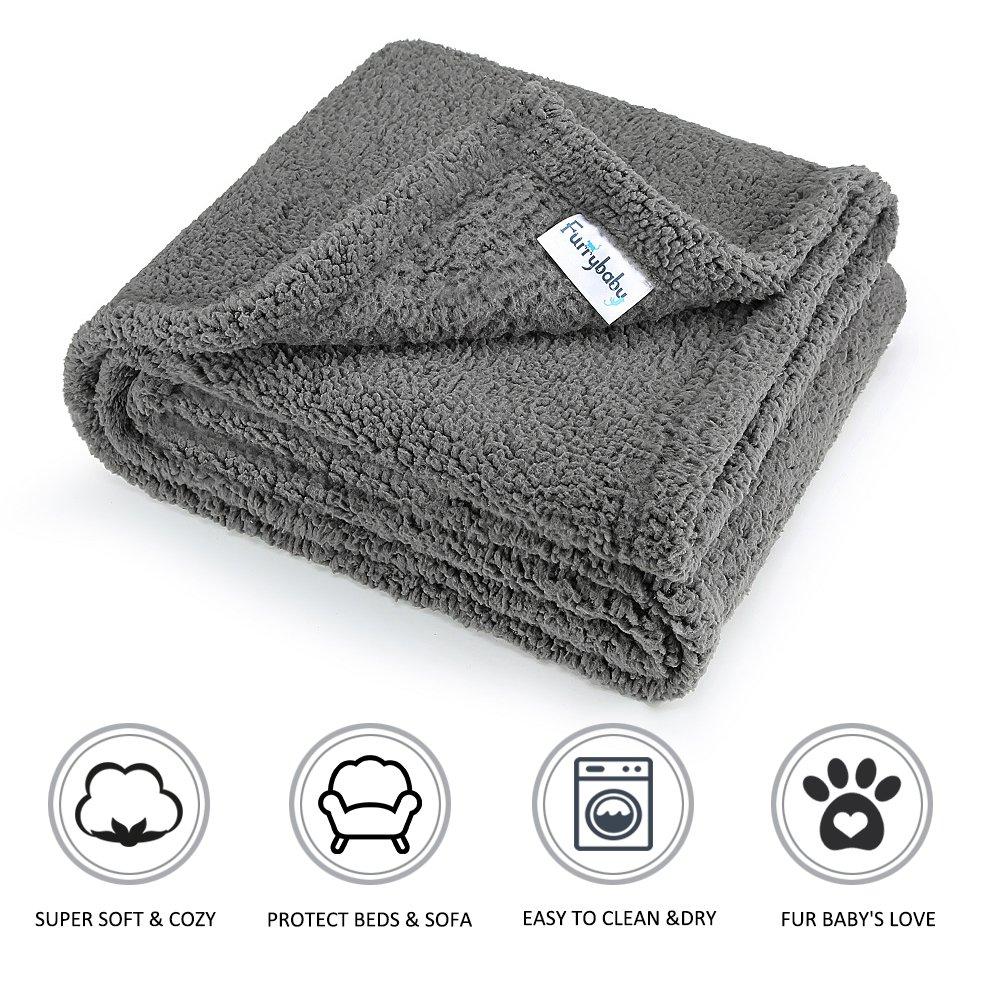 furrybaby Premium Fluffy Fleece Dog Blanket, Soft and Warm Pet Throw for Dogs & Cats (Medium 30x40'', Grey)