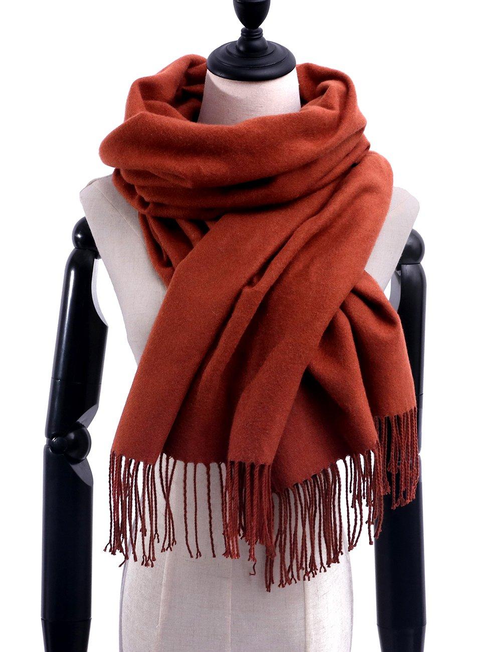 Women Soft Pashmina Scarf Stylish Warm Blanket Scarves Solid Winter Shawl