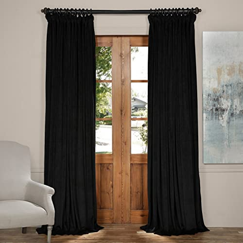 52 W x 120 L set of 2 Panels Pinch Pleat 90 White Lining Blackout Velvet Solid Curtain Thermal Insulated Patio Door Curtain Panel Drape For Traverse Rod and Track, Black Curtain