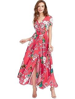 0f2b98fbe88 Milumia Women s Button Up Split Floral Print Flowy Party Maxi Dress ...