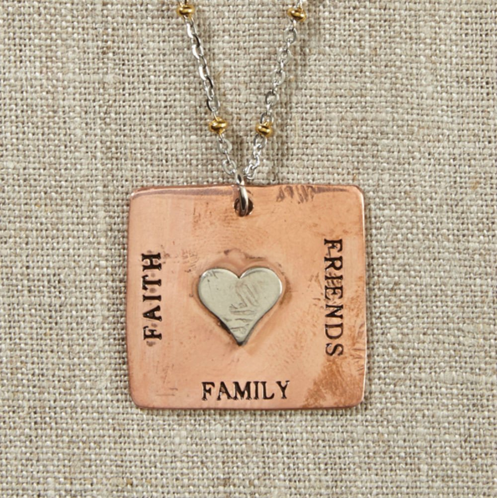 Set of 4 Grateful Heart-Copper Square Necklace with Heart on Silver and Gold Chain