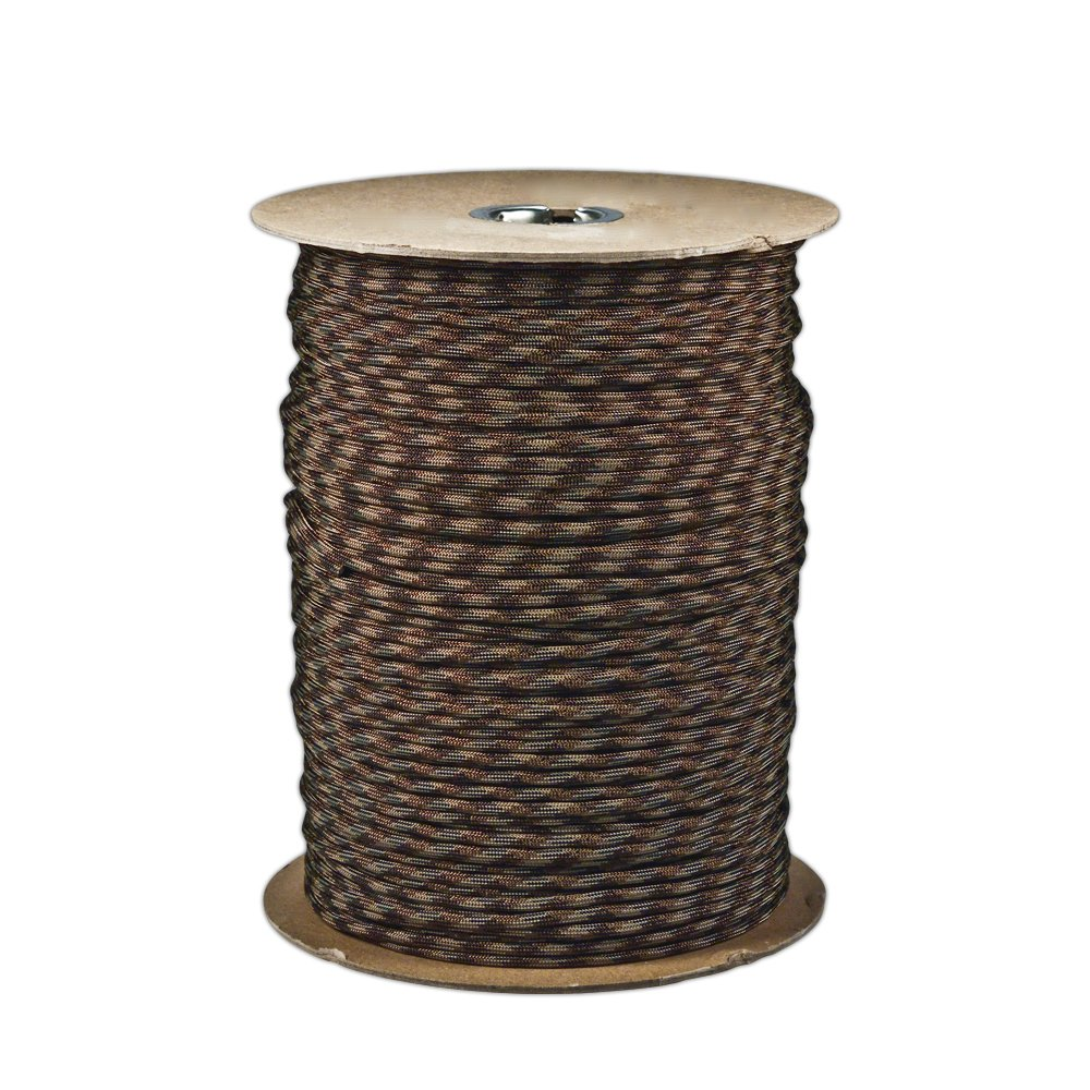 Paracord Planet Brand Nylon 550lb Type III Commercial Grade 7 Strand Paracord Made in USA 1000 Ft Spools (Brown Camo)