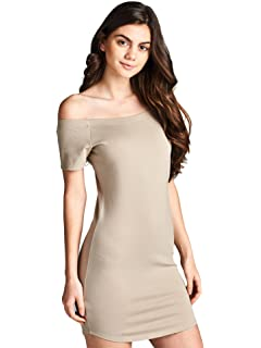 b2bfe5805301 Emmalise Women's Sexy Off Shoulder Bodycon Mini Dress Short Sleeves