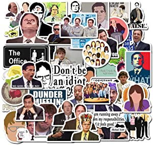 50 Pack Stickers of Funny Quote TV Comedy The Office with Mike Michael Dwight Jim Dunder Mifflin Vinyl Stickers for Hydroflask Water Bottles Laptop Skateboard Computers Notebook Folder Car Scrapbook