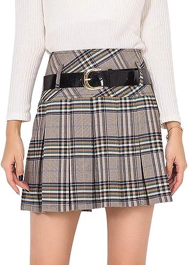 Cintura Alta Faldas Plisadas para Mujer Moda Cremallera A-lìnea ...