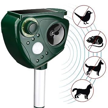 AUTSCA Repelente de gatos,repelente ultrasónico para animales,con LED,Carga solar,