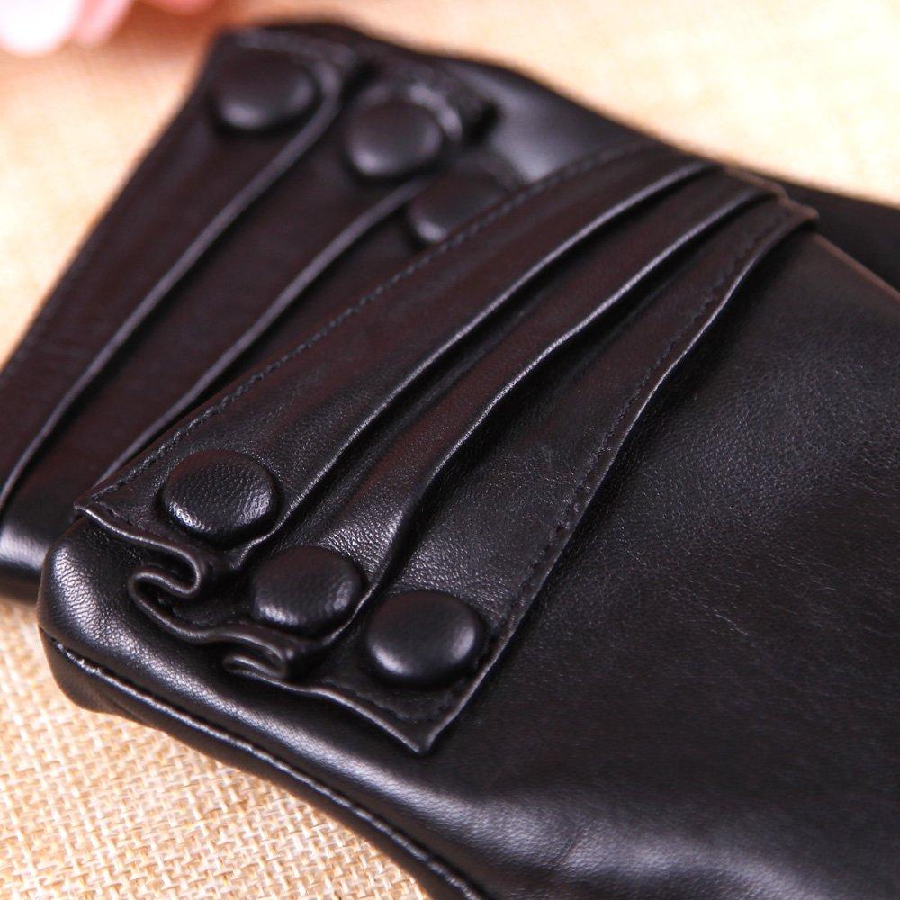 Warmen Women's Touchscreen Texting Driving Winter Warm Nappa Leather Gloves - 6.5 (US Standard size) - Black ( Fleece Lining ) by WARMEN (Image #6)