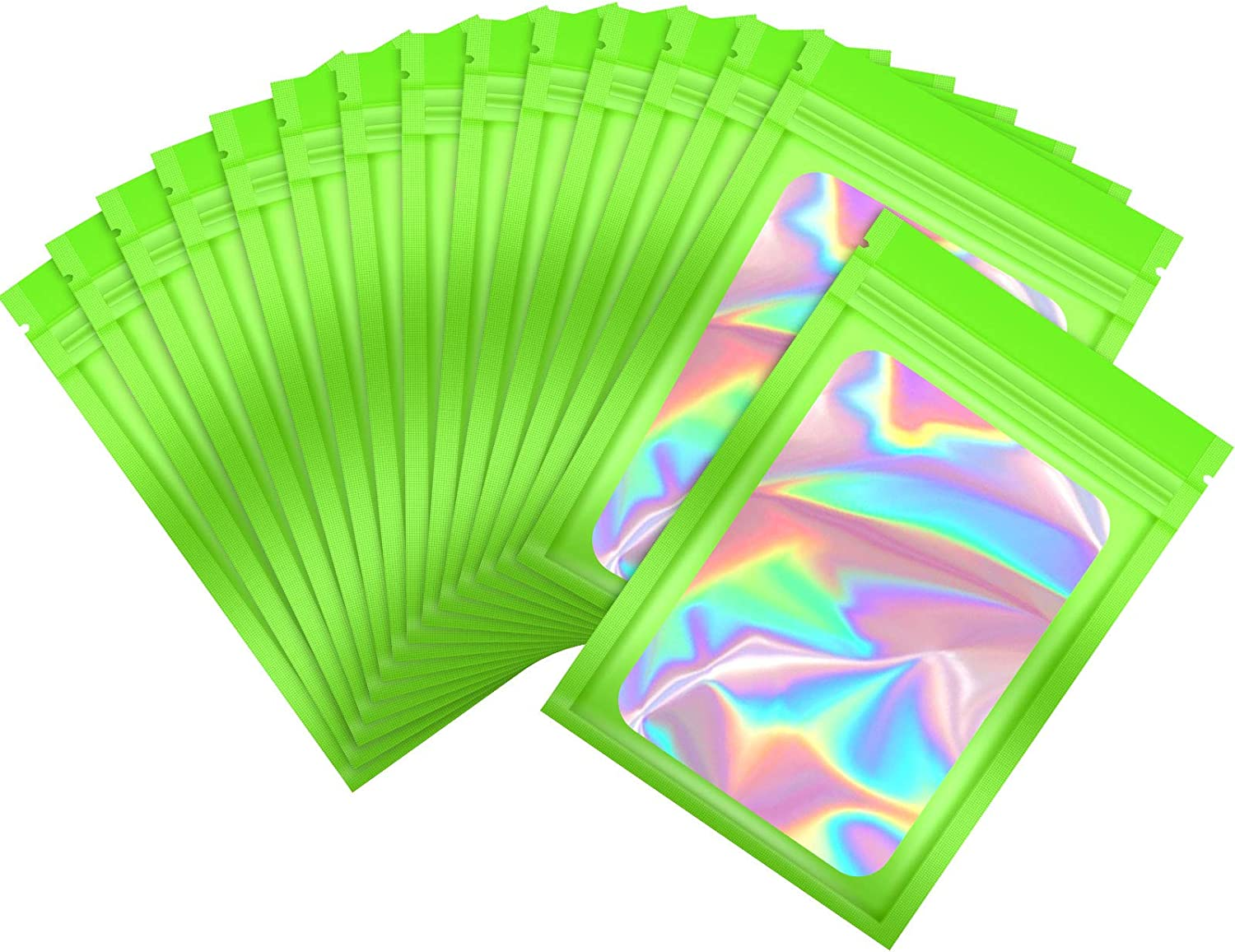 100 Pieces Smell Proof Mylar Bags Resealable Odor Proof Bags Holographic Packaging Pouch Bag with Clear Window for Food Storage Gloss Eyelash Jewelry Electronics Storage (Green, 3 x 4.7 Inch)
