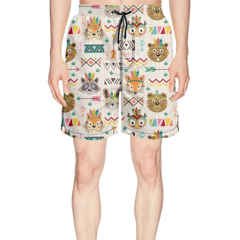 Cute Tribal Animals Faces Night owl Fashion Man Beach Swim Shorts