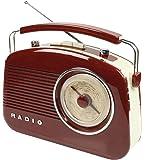 キャリーハンドル付きケーニッヒレトロAM / FMラジオ - クリーム側面と光沢のある赤茶色の木目効果
