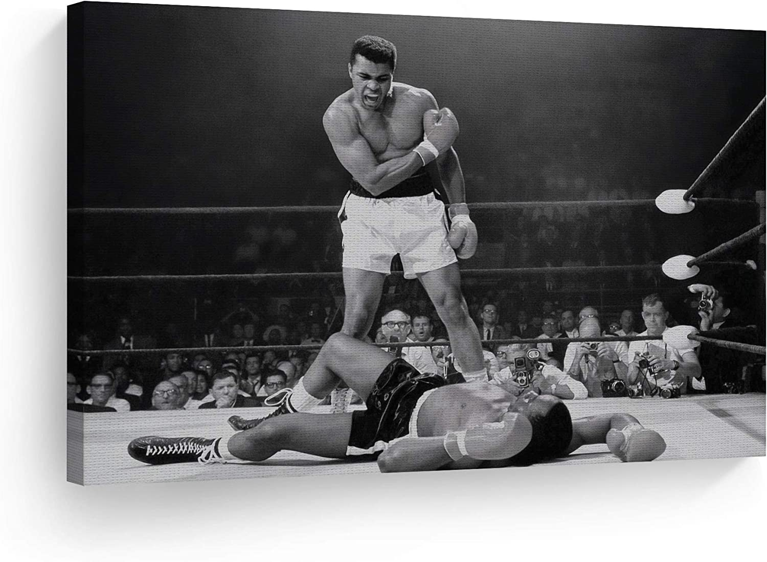 Amazon.com: Smile Art Design Muhammad Ali vs Sonny Liston Black and White  First Minute First Round Knockout Canvas Print Art Wall Decor Artwork Ready  to Hang%100 Made in The USA 19x28: Posters